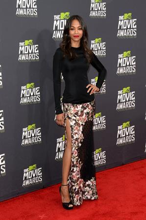 Zoe Saldana attends MTV Movie Awards at Sony Pictures Studios in Culver City - April 14, 2013