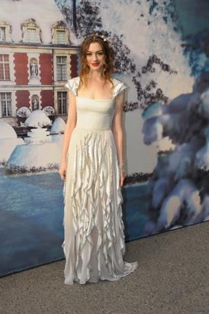 Anne Hathaway White Fairy Tale Love Ball in Paris on July 5, 2011