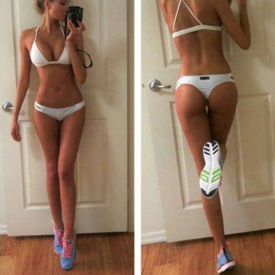 Anonymous in a bikini taking a selfie and - ass