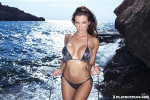 Playboy Cybergirl Helen de Muro posing on rocks