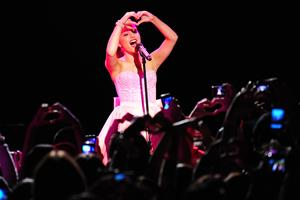 Ariana Grande performs at the Roxy West Hollywood on February 19, 2012
