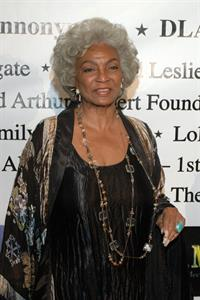 Nichelle Nichols on the Children Uniting Nations Academy Award Viewing Party red carpet, at the Beverly Hilton, Beverly Hills, Los Angeles, California. Held preceding the start of the Oscar telecast.