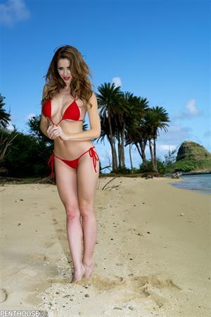 Emily Addison in a red bikini