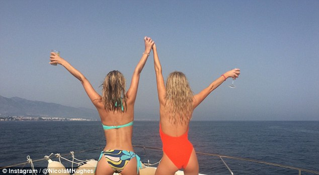 Nicola flaunting body with friend.
