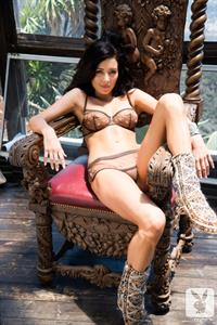Gemma Lee Farrell and a carved wooden chair for Playboy