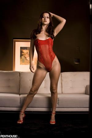 Karlie Montana in red lingerie in this Penthouse photoshoot