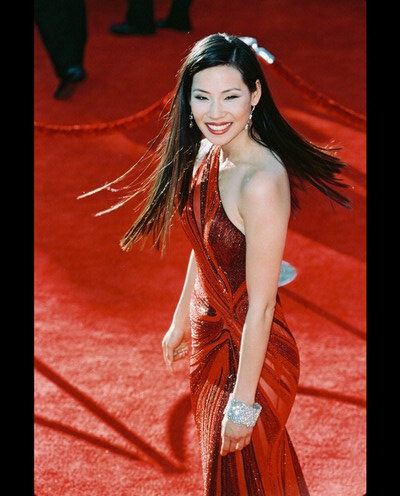 Lucy Liu in red gown