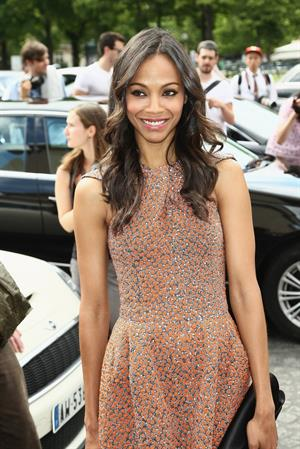Zoe Saldana at Giorgio Armani Prive Show at PFW Haute Couture F/W 2012/13 (July 3, 2012)