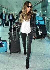 Kate Beckinsale - in Skintight Leather Trousers at Heathrow