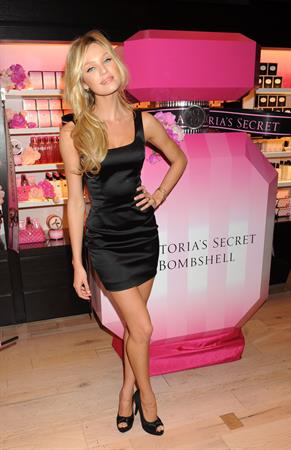 Candice Swanepoel promoting Victoria's Secret Bombshell