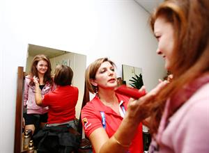 Agnieszka Radwanska at the player beauty bar at the Australian Open in Melbourne January 21-2013