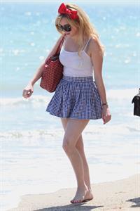 Alessandra Torresani on the beach in Malibu on July 4, 2011