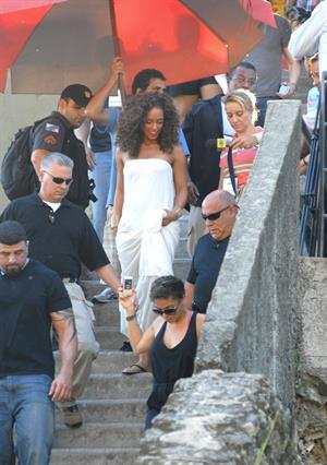 Alicia Keys filming her upcoming music video Put it in a Love Song in Rio de Janeiro on February 9, 2010