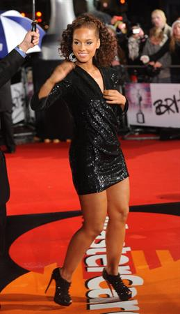 Alicia Keys attends the Brit Awards 2010 on February 16, 2010