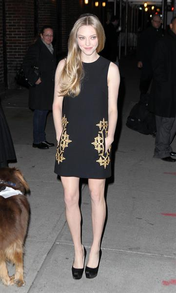 Amanda Seyfried outside the Ed Sullivan Theater in New York City 12/11/12