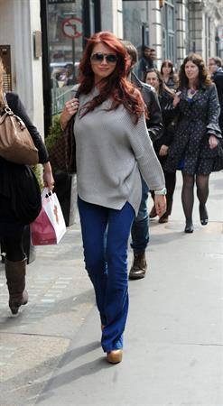 Amy Childs outside a hair salon in London on March 22, 2012