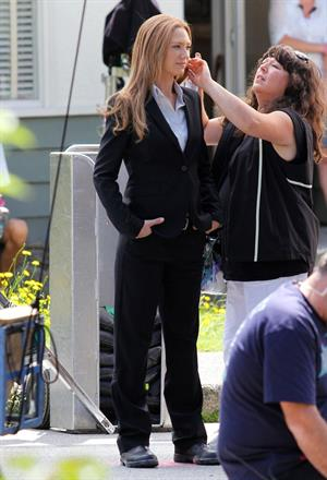 Anna Torv on the set of Fringe in Vancouver Canada on August 2, 2011