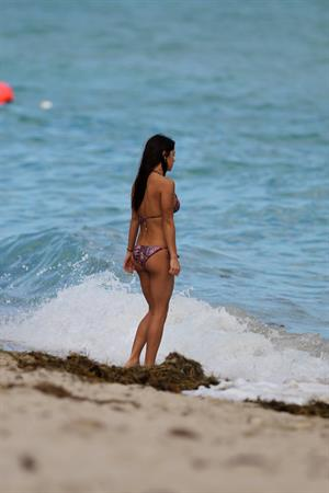 Arianny Celeste bikini candids on a beach in Miami on February 16, 2012