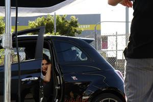 Catrinel Menghia - filming Fiat 500 Abarth ad