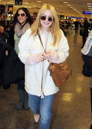 Dakota Fanning arriving in Salt Lake City to attend the Sundance Film Festival 1/21/13
