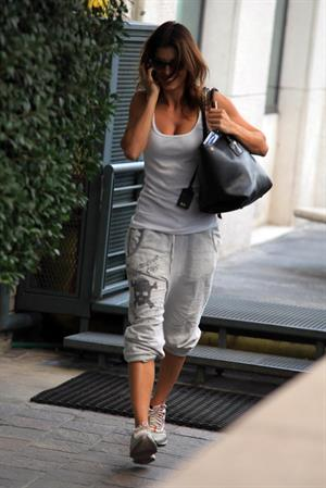Elisabetta Canalis arrives at Downtown gym in Milan - October 3, 2012
