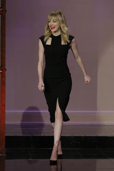 Emma Stone at The Tonight Show with Jay Leno in Burbank 1/8/13