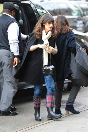 Zooey Deschanel seen out in SoHo holding a Chanel purse. November 16, 2012