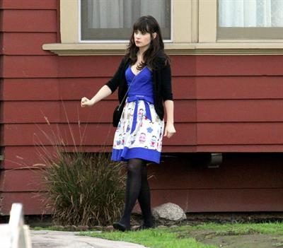 Zooey Deschanel on the set of 'New Girl in Los Angeles December 4, 2012