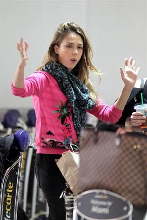 Jessica Alba at Miami Airport 3/13/13