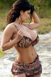 Denise Milani in tiger bra