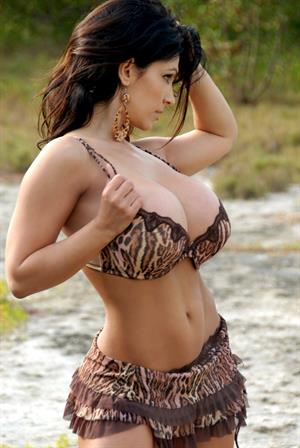 Denise Milani in tiger bra