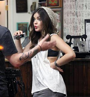 Lucy Hale - at Shamrock Tattoo - September 9th, 2012