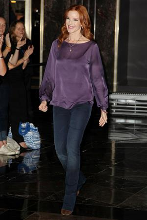 Marcia Cross Marcia Cross Lights The Empire State Building In Honor Of Plan International USA on October 10, 2012