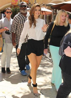Maria Menounos on the set of Extra at the Grove in LA on August 8, 2013