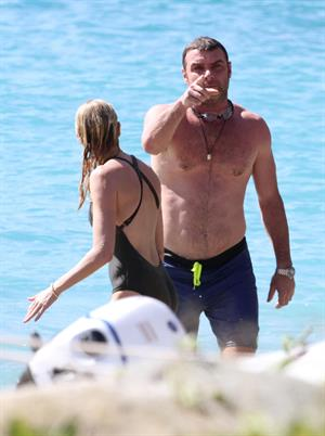 Naomi Watts wearing a swimsuit on the beach in St Barts 12/31/12