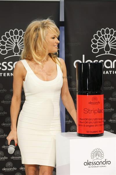 Pamela Anderson  Presents Striplac Nail Polish at Beauty Fair Düsseldorf  March 15, 2013
