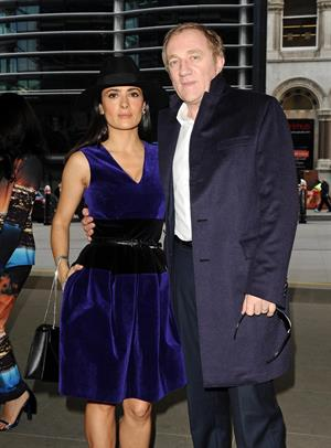 Salma Hayek Christopher Kane show at London Fashion Week 2/18/13