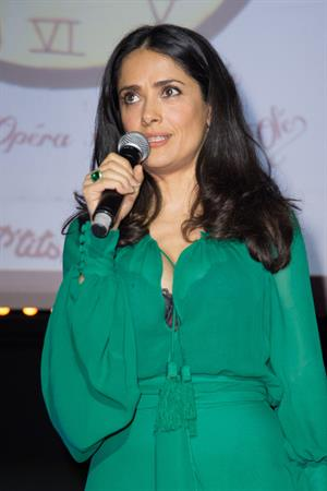 Salma Hayek Les P'tits Cracks Charity Dinner Pavillon des Champs Elysees in Paris April 25, 2013