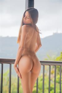 Gorgeous brunette Mily Mendoza poses nude on her patio -  Foggy Day