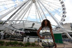 Serena Williams poses for a Photograph at the Wheel of Brisbane in South Bank December 31, 2012