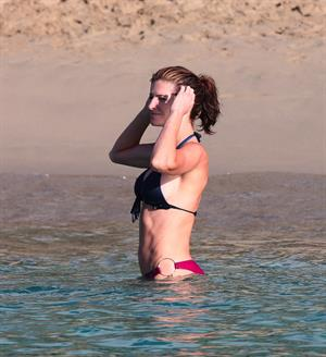 Stephanie Seymour bikini candids on the beach in St. Barts 12/31/12