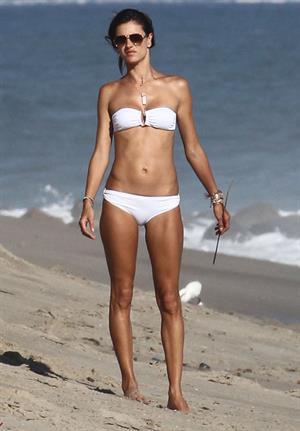 Alessandra Ambrosio in a white bikini in Malibu August 23, 2014
