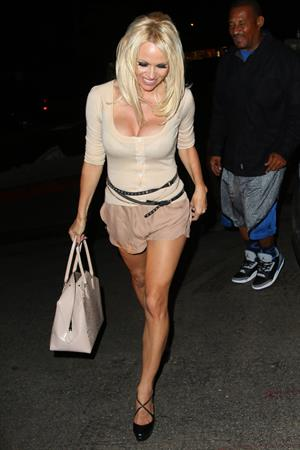 Pamela Anderson leaving Chateau Marmont in Los Angeles, August 20, 2014