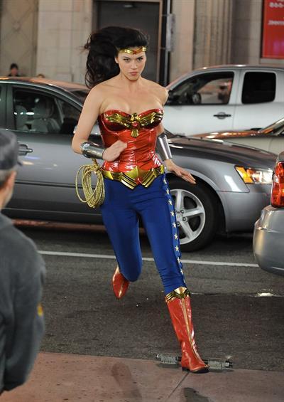 Adrianne Palicki on Wonder Woman set 3/29/2011