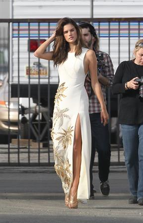 Alessandra Ambrosio on the set of a photo shoot for 'Harpers Bazaar' in Los Angeles on February 27, 2014