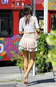 Alessandra Ambrosio stopping by the Brentwood Country Mart to grab her morning coffee in Brentwood