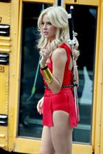 Ashley Benson on the set of Pixels in Toronto on August 7, 2014
