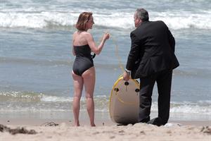 Helen Hunt wearing a swimsuit on the set of 'Ride' in LA August 5, 2013