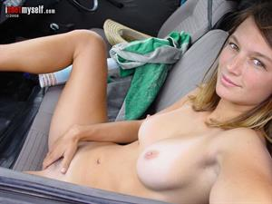 Amateur Brunette Violeta with Nice Tits in Car