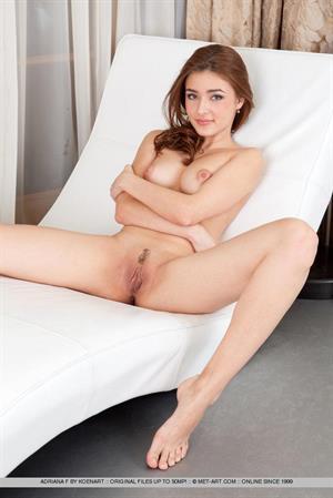 Adriana F - black lingerie, white chair